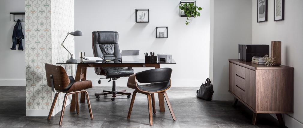 Chaise design noir et bois clair RUBBENS