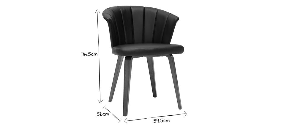 Chaise design noir et bois foncé ALBIN