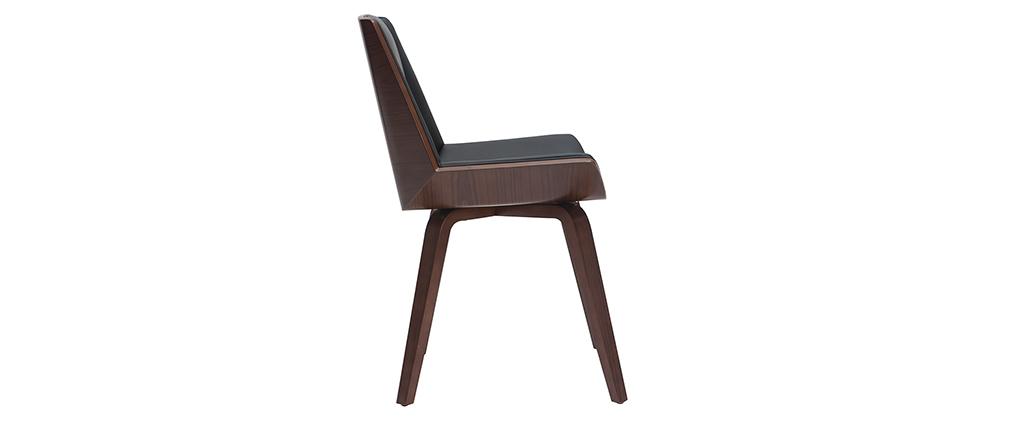 Chaise design noir et bois foncé MELKIOR
