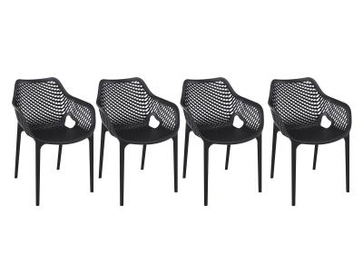 Chaise design noir lot de 4 LUCY XL