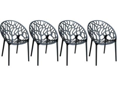 Chaise design noir translucide lot de 4 ARBOL