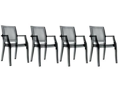 Chaise design noir translucide  lot de 4 QUADRO