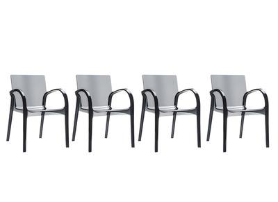 Chaise design noir translucides lot de 4 RONDA