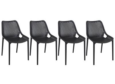 Chaise design noire lot de 4 LUCY