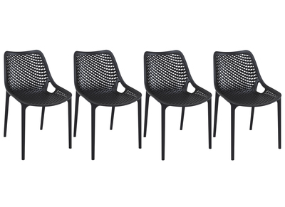 Chaise design noire lot de 4 LUCY