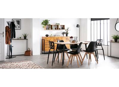 Chaise design noire lot de 4 PAULINE