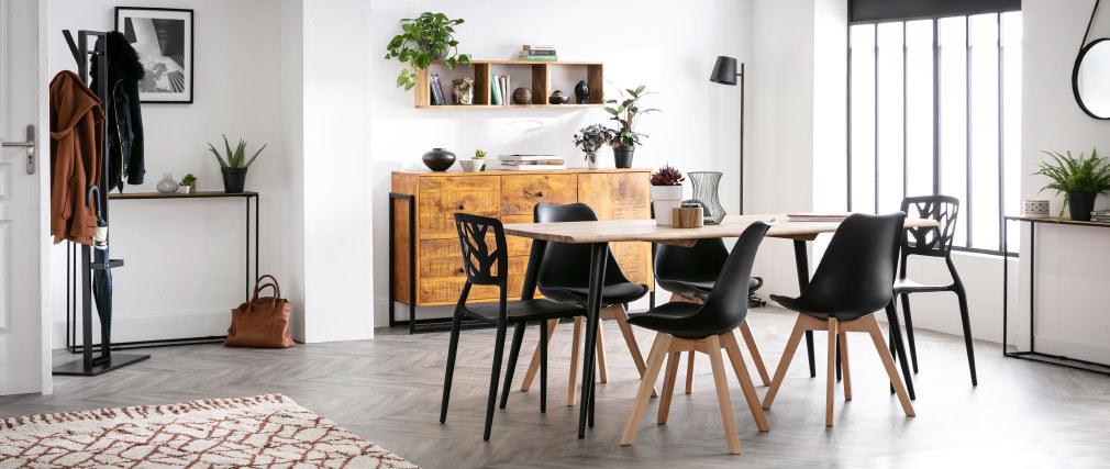chaise design noire lot de 4 pauline miliboo. Black Bedroom Furniture Sets. Home Design Ideas