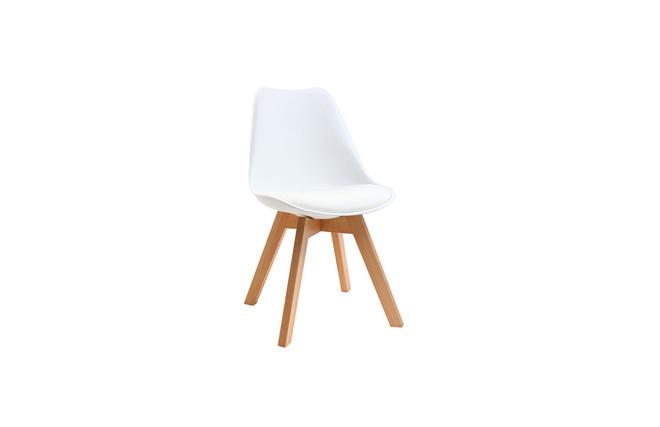 Chaise design pi tement bois blanches lot de 2 pauline miliboo - Chaise design blanche et bois ...
