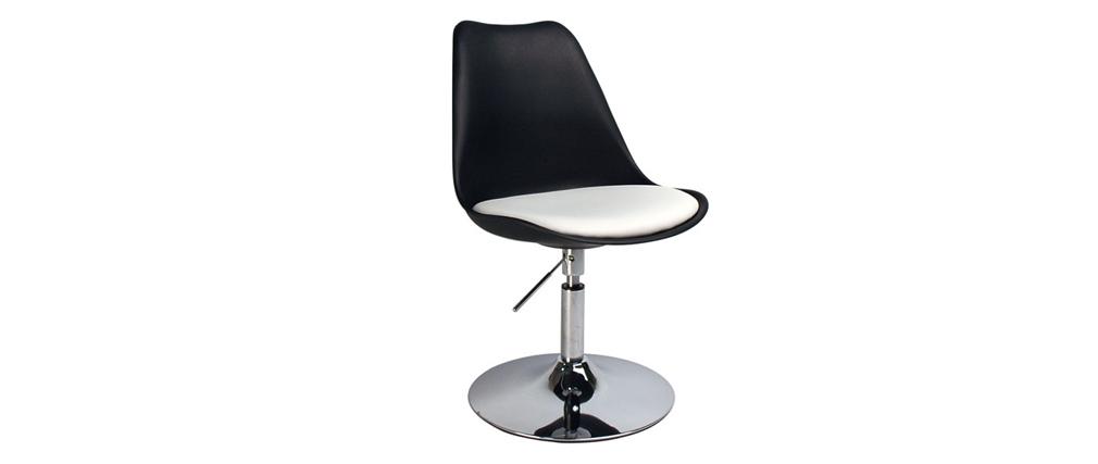 Chaise design pivotante noire avec assise blanche STEEVY