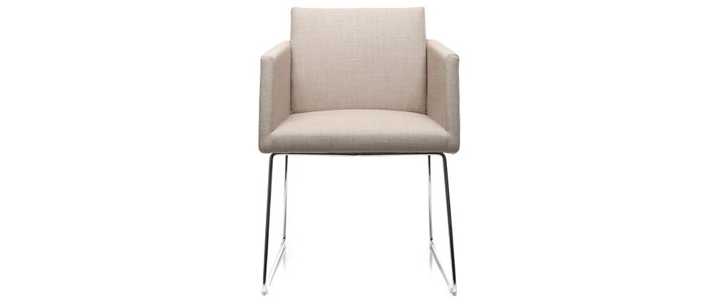 Chaise design polyester naturel et acier chromé NEORA