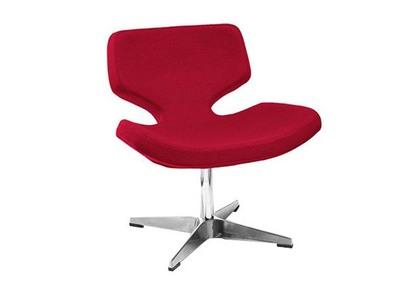Chaise design polyester rouge et pieds aluminium KEON