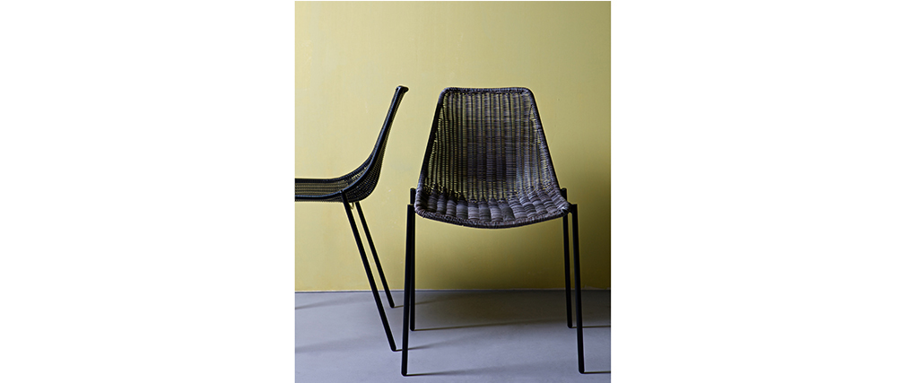 Chaise design rotin synth tique gris lot de 2 int rieur for Bambou synthetique exterieur