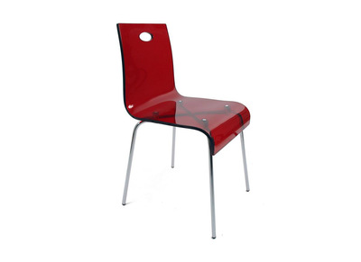 Chaise design rouge en plexiglas CINDY