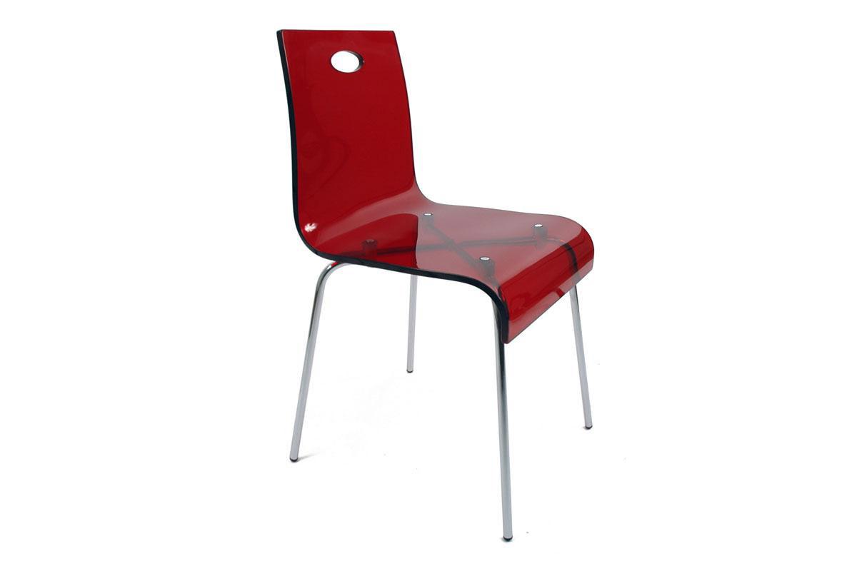 Chaise design transparente rouge en plexiglas cindy - Chaise pvc transparente ...