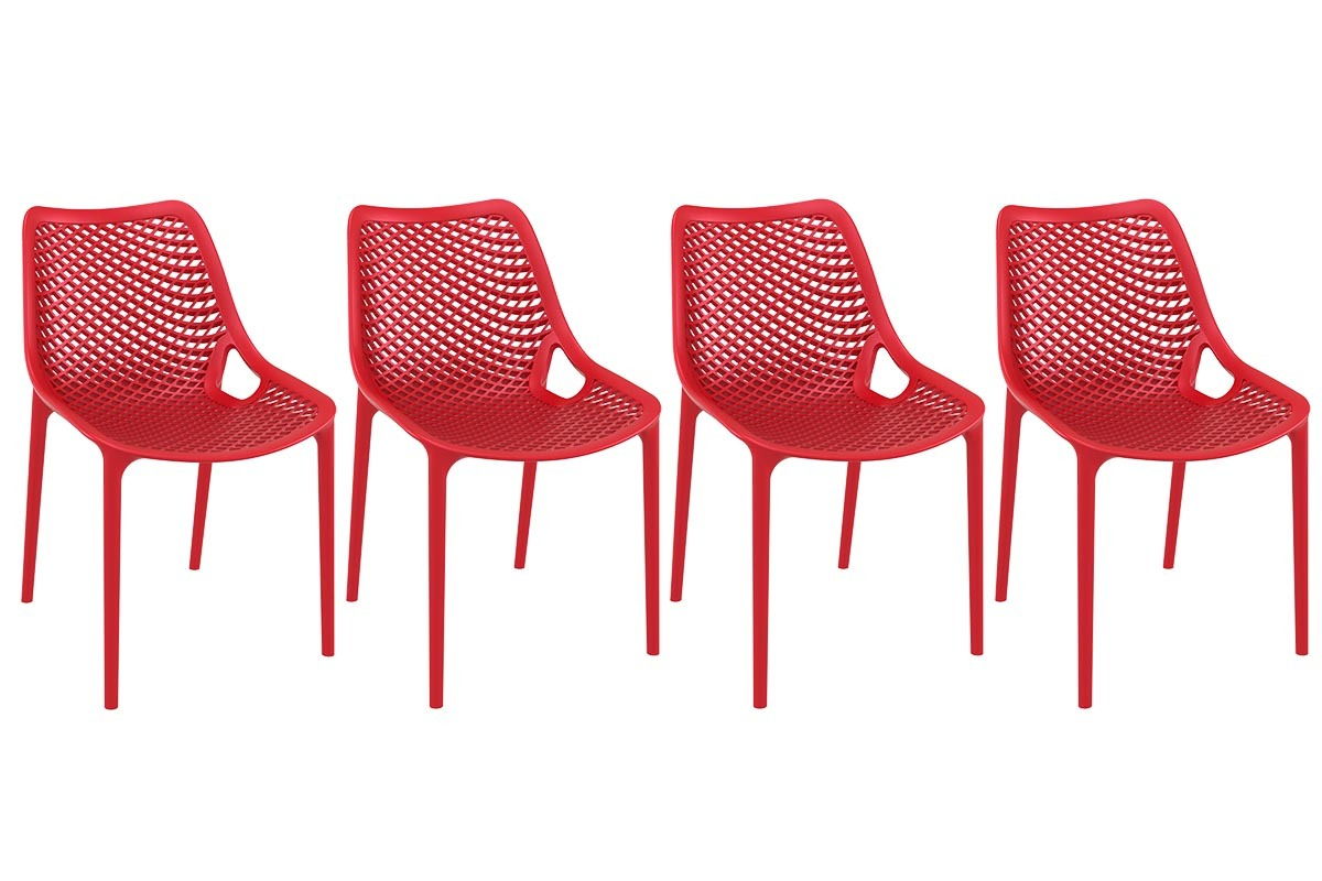 Chaise design rouge lot de 4 lucy miliboo for Chaise design rouge