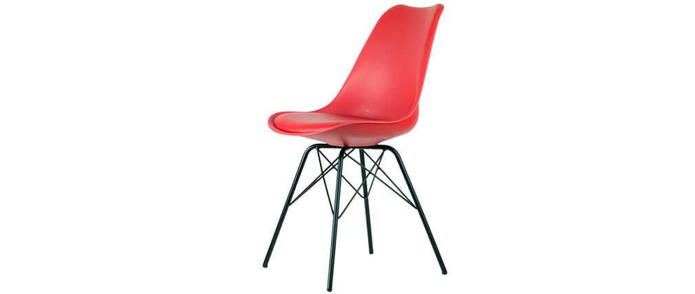 Chaise design rouge pieds en étoile lot de 2 STEEVY V2