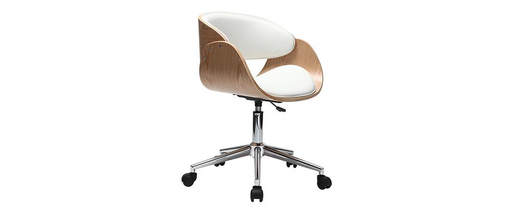 Chaise design roulettes blanc et bois clair bent miliboo - Chaise de bureau en bois a roulette ...