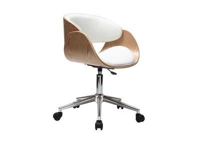 Chaise design roulettes blanc et bois clair BENT
