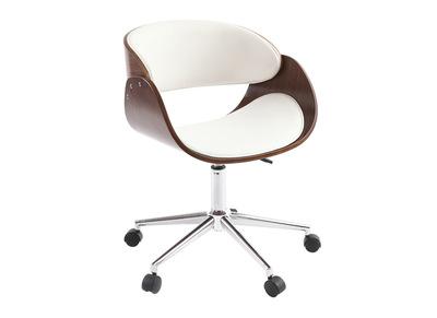 Chaise design roulettes blanche et noyer BENT