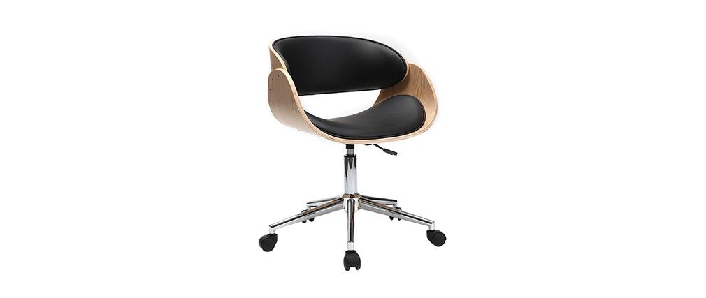 chaise design roulettes noir et bois clair bent miliboo. Black Bedroom Furniture Sets. Home Design Ideas