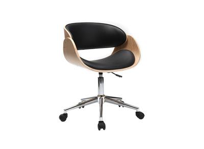 Chaise design roulettes noir et bois clair BENT