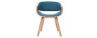 Chaise design tissu bleu canard et bois clair BENT