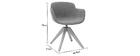 Chaise design tissu effet velours gris et bois AARON