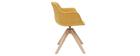 Chaise design tissu effet velours jaune moutarde et bois AARON