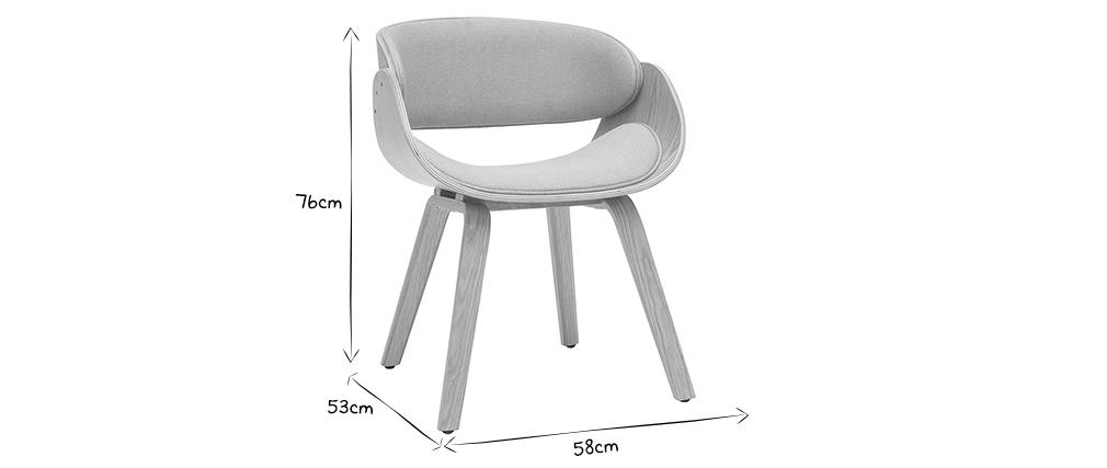 Chaise design tissu gris et bois clair BENT
