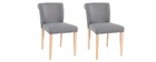 Chaise design tissu gris lot de 2 ELYNA