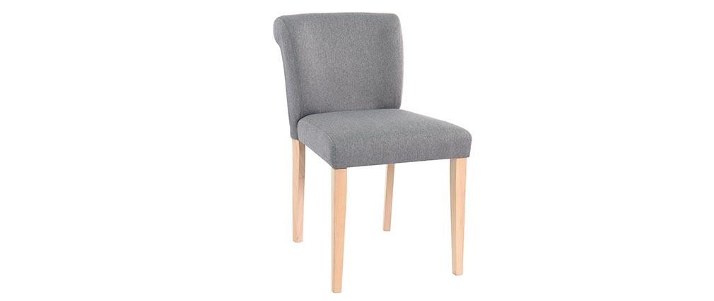 Chaise design tissu gris lot de 2 ELYNA