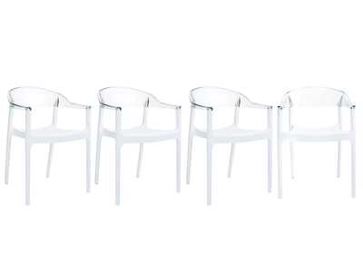 Chaise design transparent / blanc lot de 4 SORI