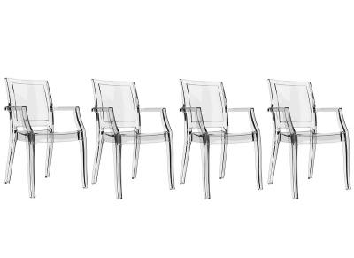 Chaise design transparente lot de 4 QUADRO