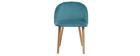 Chaise design velours bleu canard et bois CELESTE