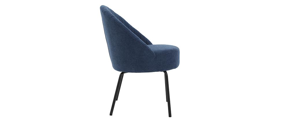 Chaise design velours bleu et métal noir IZAAC - Miliboo & Stéphane Plaza