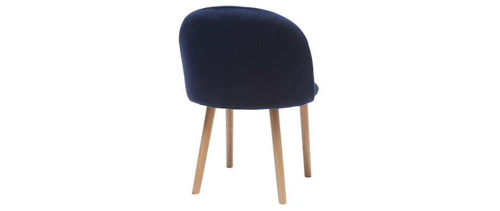 Chaise design velours bleu nuit et bois CELESTE