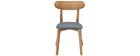 Chaise design vintage grise et pieds bois (lot de 2) MARIK