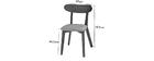 Chaise design vintage grise et pieds noyer (lot de 2) MARIK