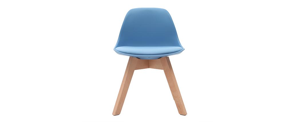 Chaise enfant design bleu avec pieds bois BABY PAULINE