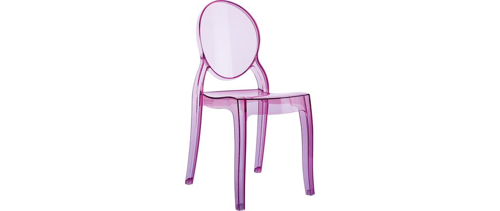 chaise enfant rose transparente int rieur ext rieur mini louison miliboo. Black Bedroom Furniture Sets. Home Design Ideas