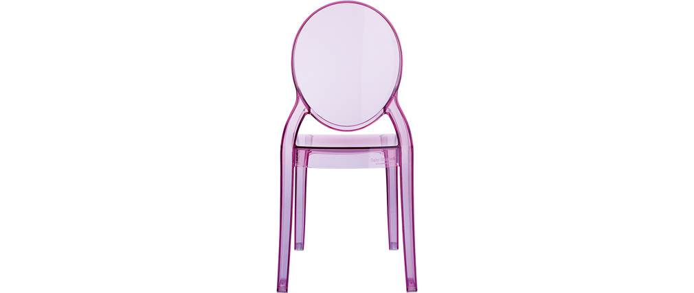 Chaise enfant rose transparente int rieur ext rieur mini louison miliboo - Chaise transparente rose ...