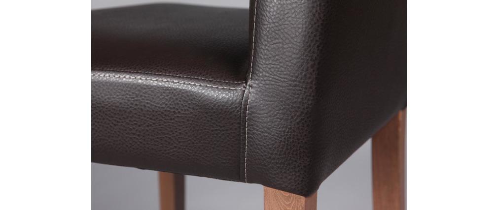 Chaise haute design marron pieds ch ne meteore miliboo for Chaise 3 pieds