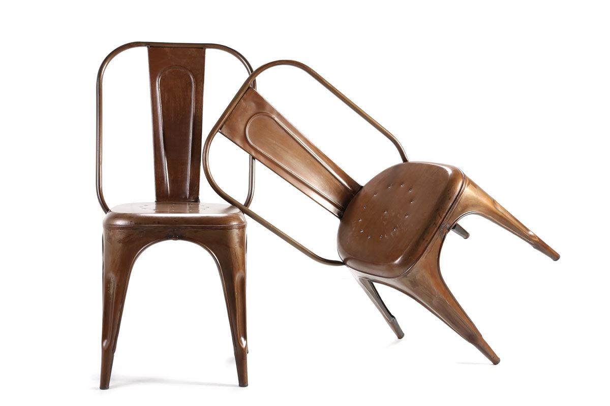 chaise industrielle effet rouille lot de 2 atelier miliboo. Black Bedroom Furniture Sets. Home Design Ideas