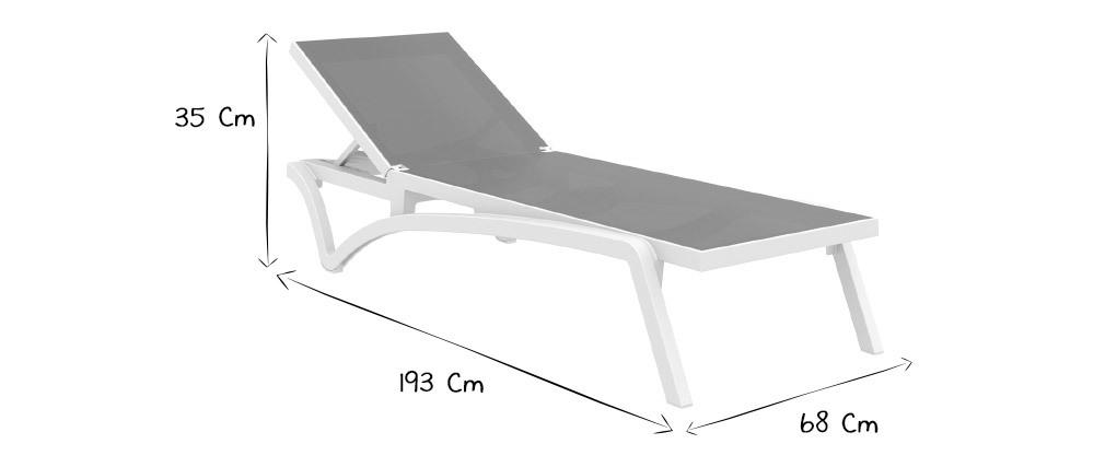 Chaise longue ajustable bleue à roulettes CORAIL