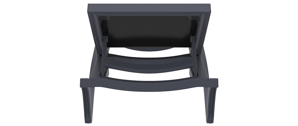 Chaise longue ajustable noire à roulettes CORAIL