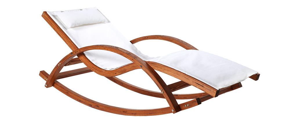 Chaise longue bain de soleil blanc cassé GUERANDE