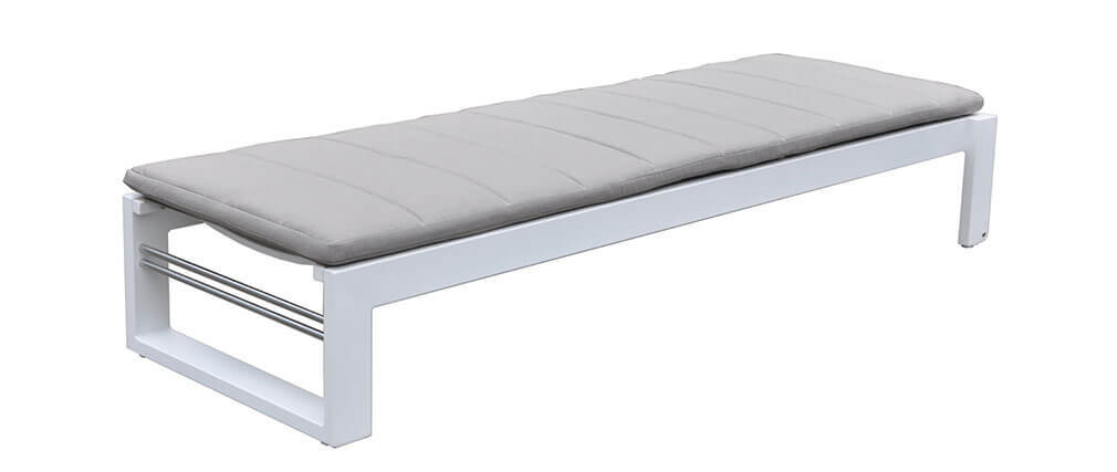 Chaise longue bain de soleil design gris et blanc corfou for Chaise design gris et blanc