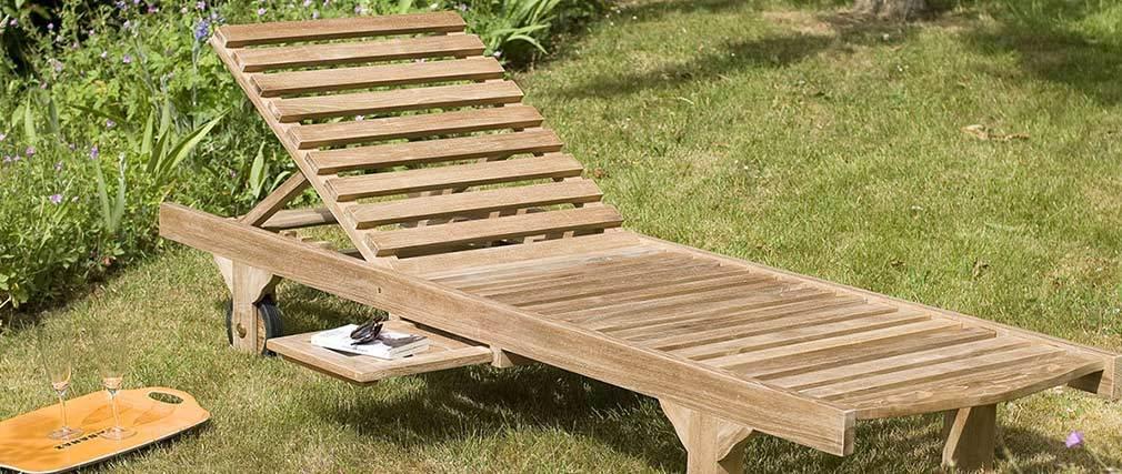 Chaise longue de jardin en teck TRINITE