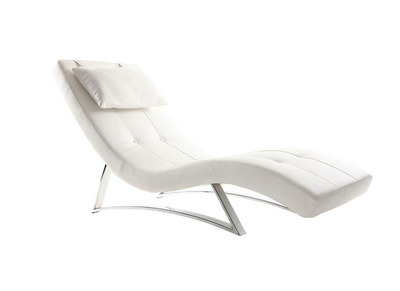 Chaise longue design blanc MONACO