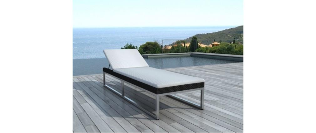 Chaise longue design r sine tress e noire punta cana miliboo - Chaise longue resine tressee ...